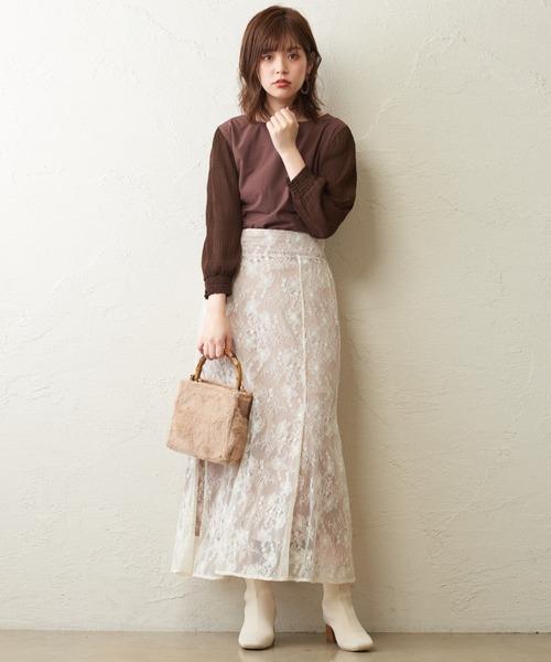 [natural couture] マジョリカ袖バー釦ブラウス