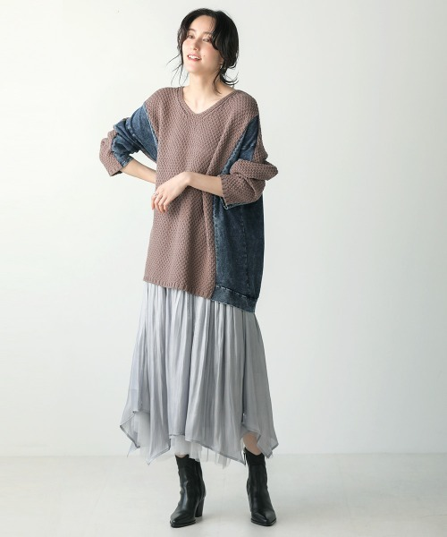 [Bou Jeloud] 柄編みデニムコンビニットプルオーバー