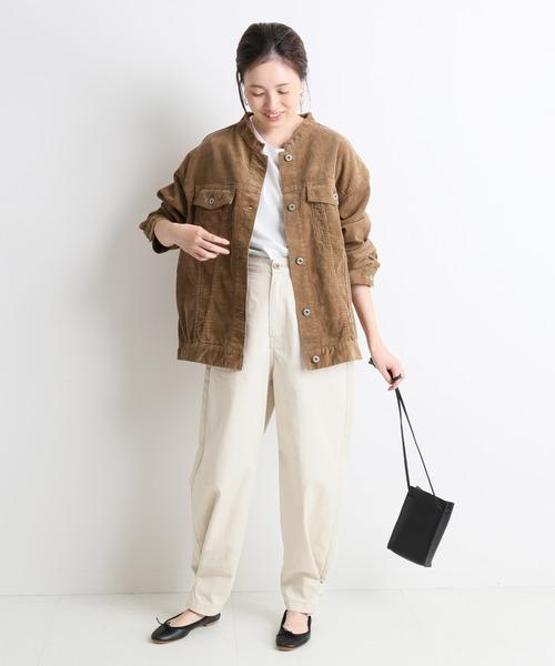 [IENA] LE DENIM ノーカラーGジャン【洗濯機洗い可能】◆
