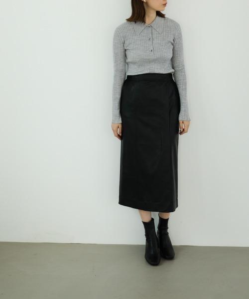 エコレザースカートコーデ4