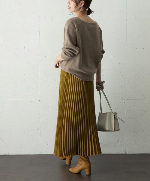 [URBAN RESEARCH ROSSO WOMEN] スエードロングプリーツスカート