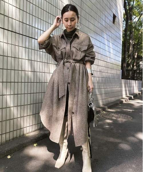 [Ameri VINTAGE] ECO WOOL LONG SHIRT COAT