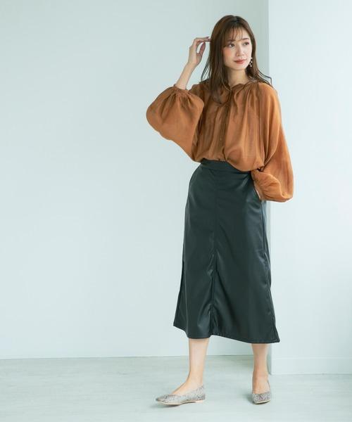 [210nouve] フェイクレザーセミフレアスカート