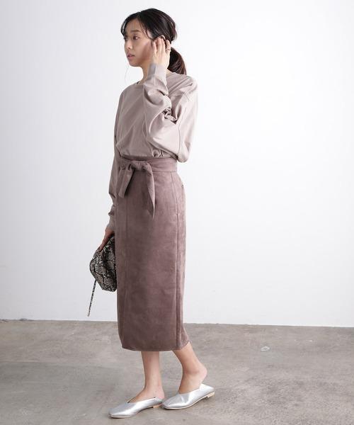 [ViS] 【セットアップ対応】エコスエードロングタイトスカート