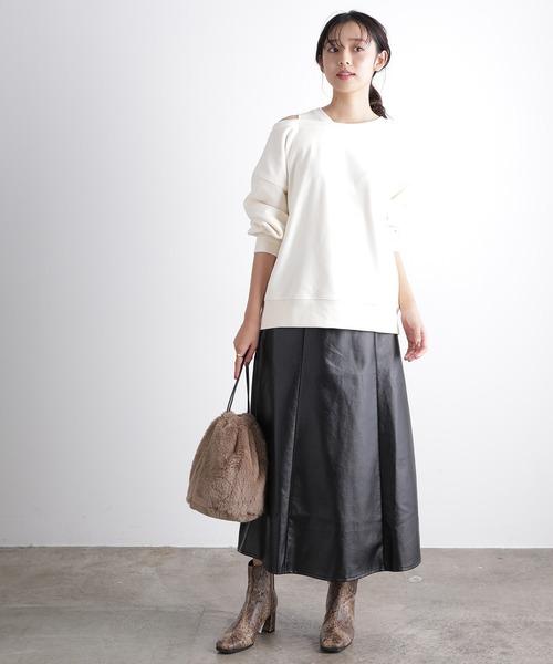 [ViS] 【WEB限定】エコレザーフレアスカート