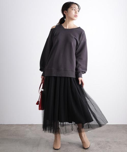 [ViS] 【WEB限定】チュールレーススカート