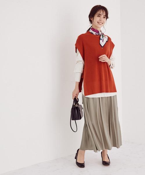 [ROPE'] 【セットアップ対応】タックギャザースカート