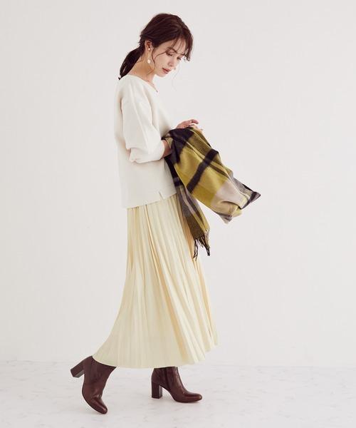[ROPE'] レザー風矢羽プリーツスカート