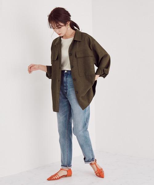 [ROPE'] 【セットアップ対応】ツイードライクCPOシャツジャケット