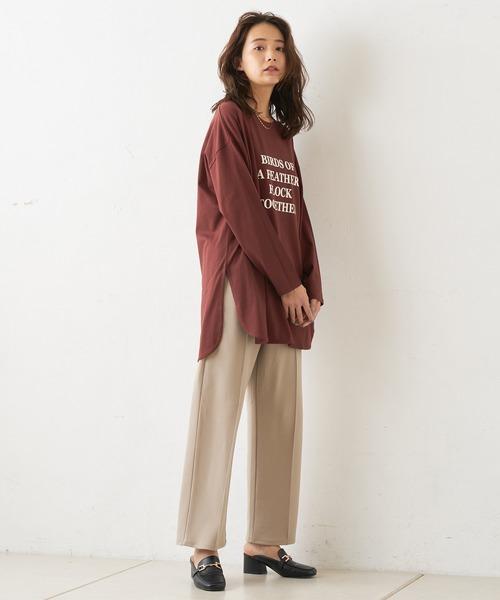 [Discoat] ロゴプリント裾ラウンドロングTシャツ