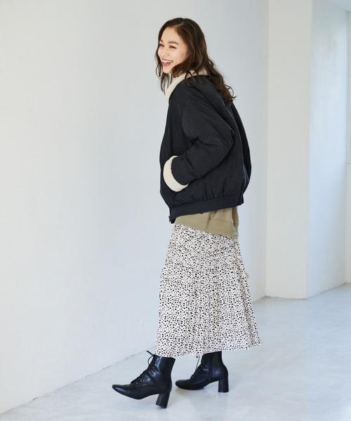 中綿ブルゾン×ギャザースカート
