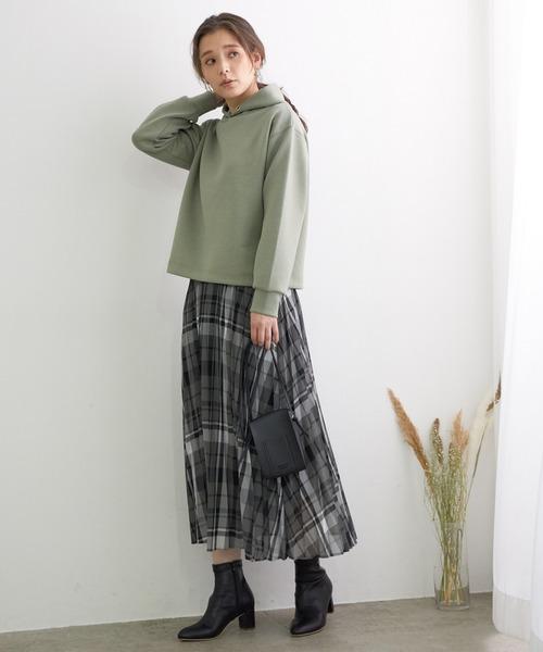 [ROPE' PICNIC] シアーチェックプリーツスカート