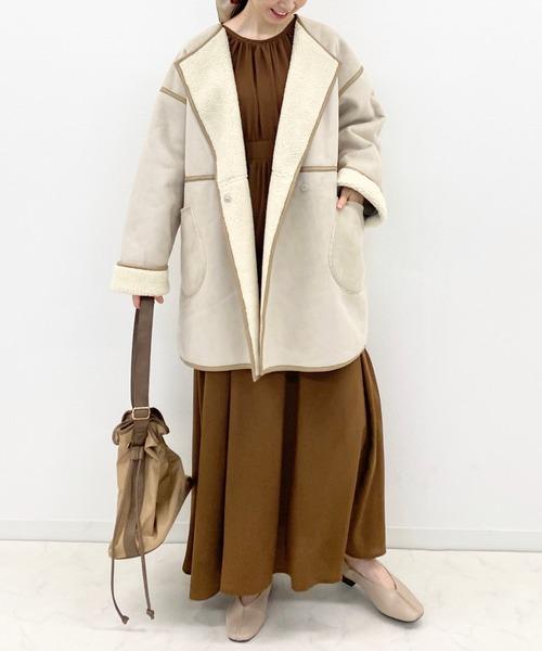 リバーシブルムートンコートの服装
