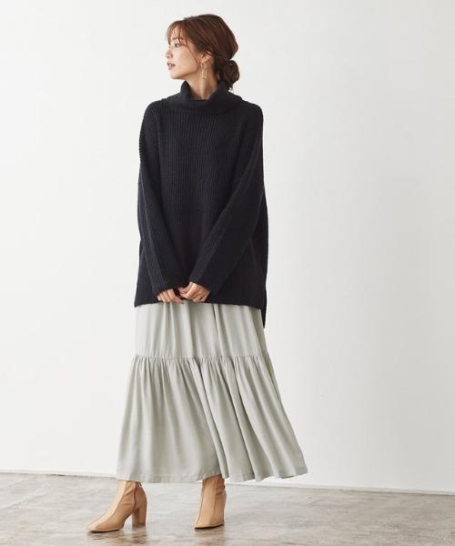 [Pierrot] ギャザー切り替えマモレ丈スカート