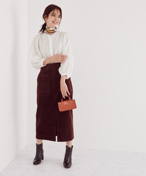 [ROPE'] 【SS/S/M/Lサイズあり】コーディロイストレッチタイトスカート