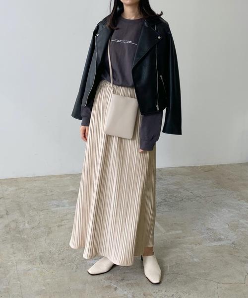 [Lian] スエードタッチプリーツスカート