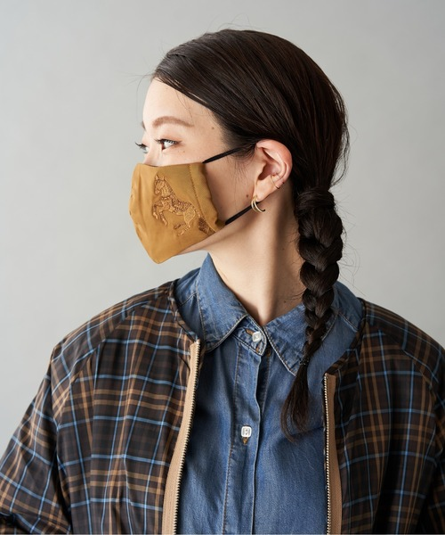 [ear PAPILLONNER] (WEB限定カラー:ネイビー)馬刺繍マスク