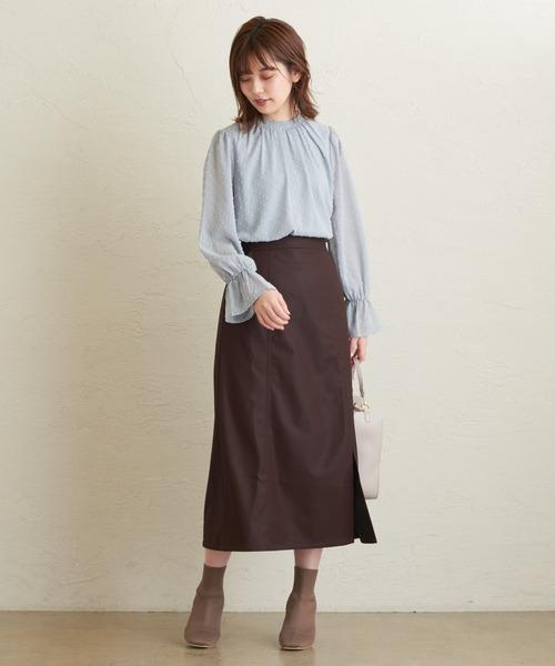[natural couture] エコレザーAラインスリットスカート