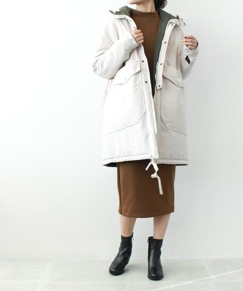 [DRESSLAVE] OOF / reversible batting hooded coat(リバーシブルロングダウンコート)
