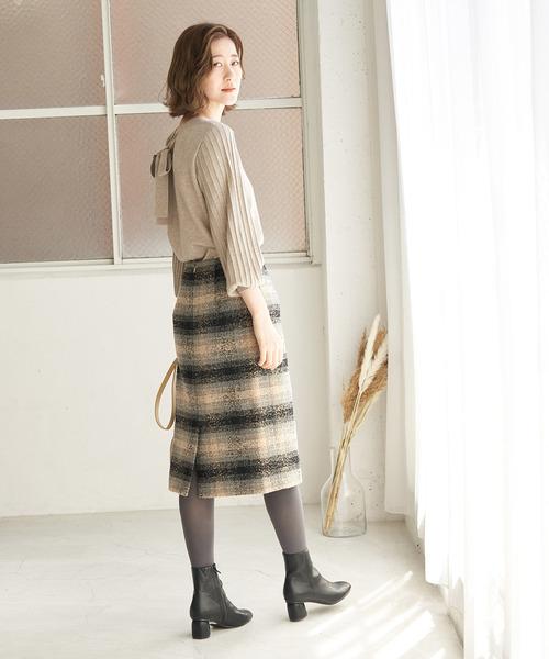 [ROPE' PICNIC] 【WEB限定カラー:ベージュ】BIGチェックアイラインスカート
