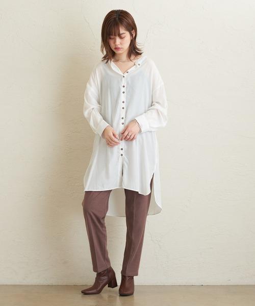 [natural couture] ダブル釦バンドカラーシャツ