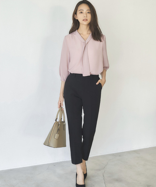 [GIRL] Vネックボウタイ風シフォン七分袖ブラウス - ビジネス・オフィスシーン・キャリア対応