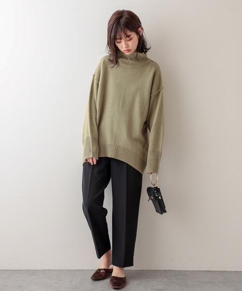 [natural couture] タートルバックスリットニットプルオーバー