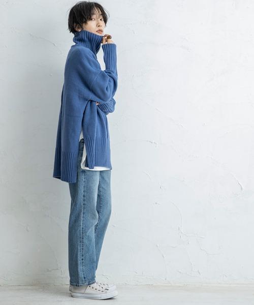 [STYLE BAR] 11月上旬入荷!【CIENA】サイドスリットタートルネックニットプルオーバー