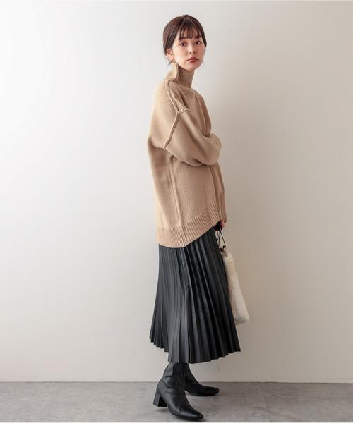 [natural couture] 合皮プリーツスカート