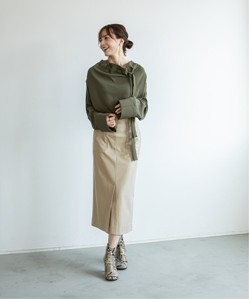 [Spick & Span] 《WEB限定》【Asami Nakamura×NOBLE】フェイクレザーロングタイトスカート◆