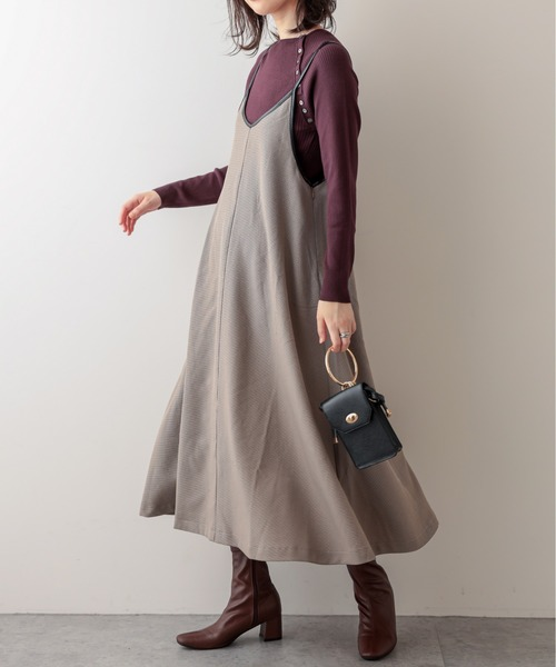 [natural couture] 【WEB限定】パイピング大人2WAYキャミワンピース