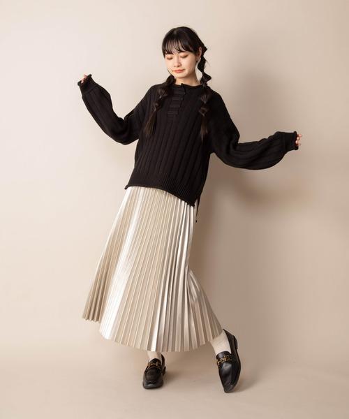 [Mysa&Liina] 合皮プリーツスカート
