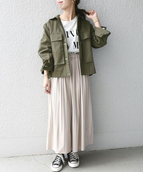 [SHIPS for women] SHIPS any: レザー ライク プリーツ ロング スカート