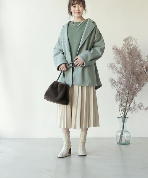 [Ray Cassin] 【WEB限定】ポンチスェードプリーツスカート