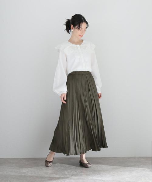 [La TOTALITE] サテンサーキュラープリーツスカート【手洗い可