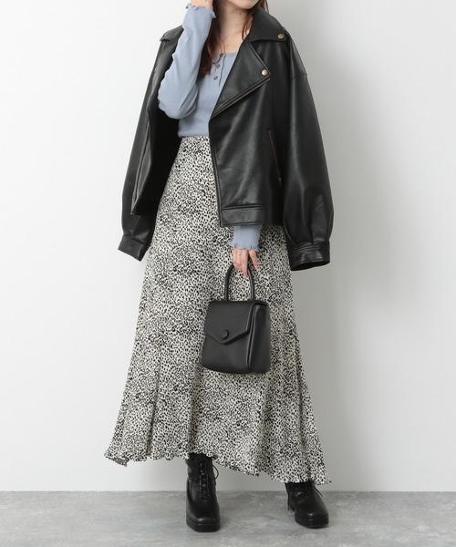 [Heather] レオパードプリーツマーメイドスカート 239586