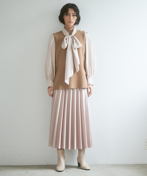 [ANAYI] サテンフレアプリーツスカート