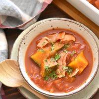 【連載】冷凍保存も可能で重宝する!レンジで作るかぼちゃのトマト煮込み