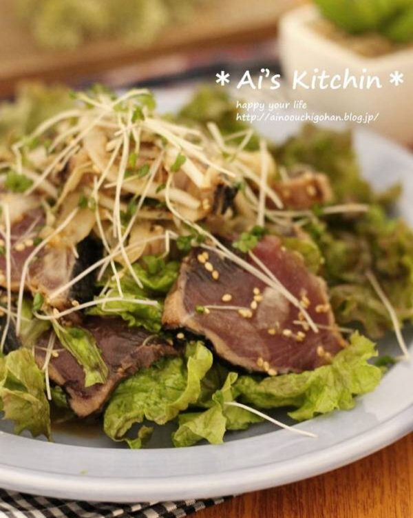 さっぱり簡単秋レシピ!鰹のたたきサラダ