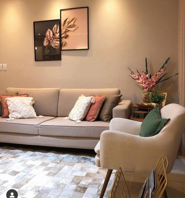 優しい色使いが心地よいソファスペース