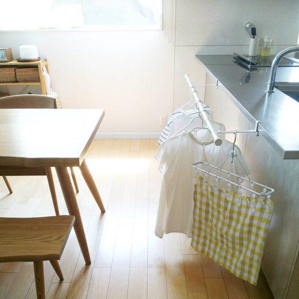 キッチン前で室内干し