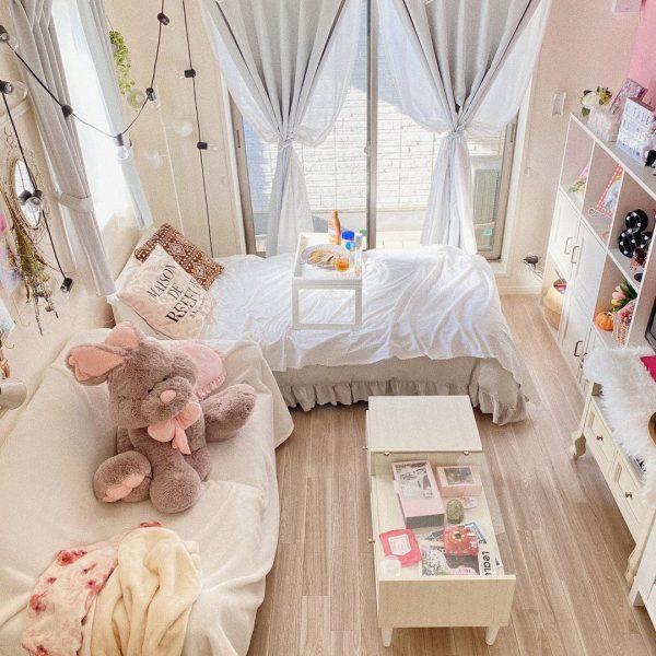 ガーリーな10畳1Kのベッドスペース