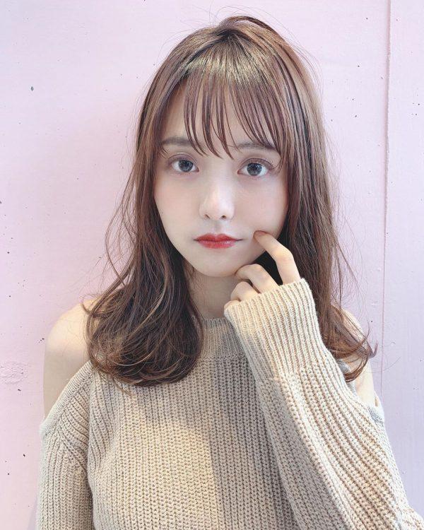 40代くせ毛×ミディアム髪型【前髪あり】6