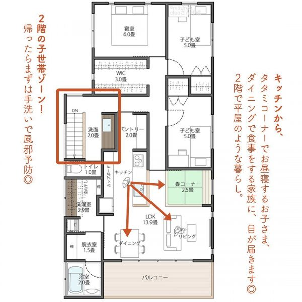 お互いのプライベートに配慮した、玄関が別々の2世帯住宅間取り。3