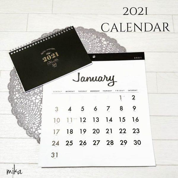 お洒落なデザインの2021年のカレンダー