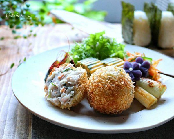 里芋と鮭とクリームチーズのコロッケ