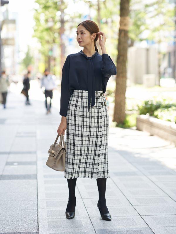 2wayブラウス×ツイードベルトスカート