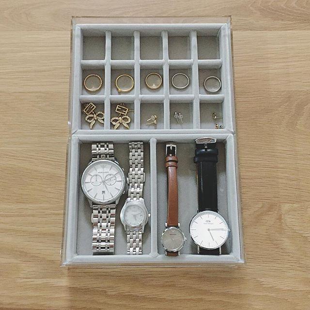 無印ベロア仕切りに腕時計を収納