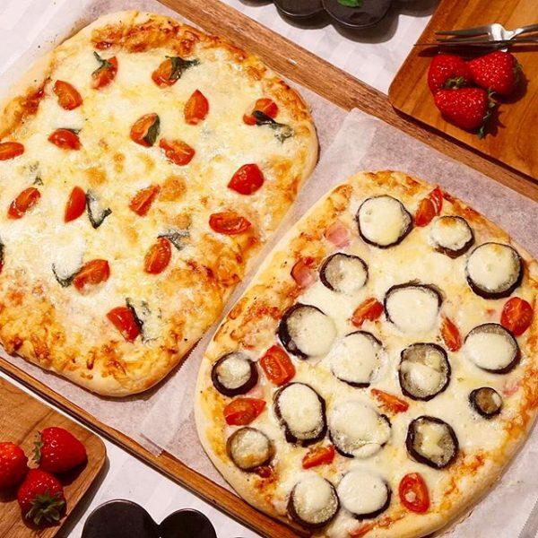 マルゲリータベーコンとなすのピザ