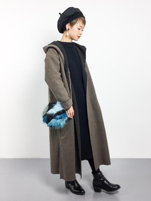 リブワンピ×帽子のレディース冬コーデ
